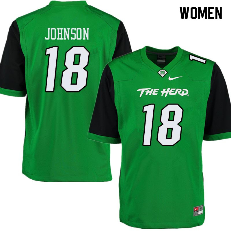 Women #18 Dontrell Johnson Marshall Thundering Herd College Football Jerseys Sale-Green